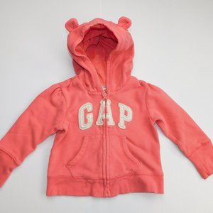 GAP Girls 12-18 Months Pink Full Zip Hoodie w Ears